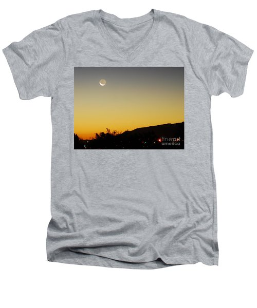 Men's V-Neck T-Shirt featuring the photograph The Night Moves On by Angela J Wright
