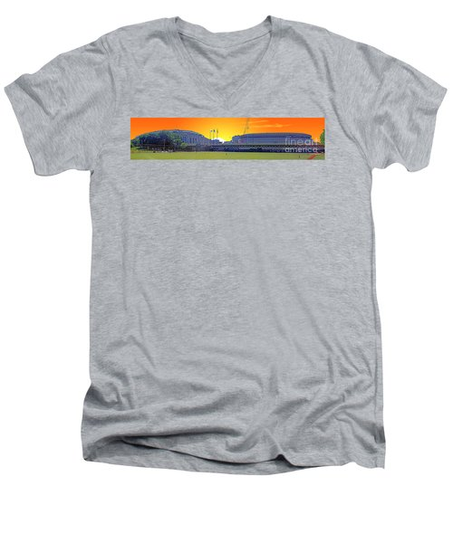 The Old And New Yankee Stadiums Side By Side At Sunset Men's V-Neck T-Shirt by Nishanth Gopinathan