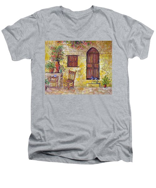 Men's V-Neck T-Shirt featuring the painting The Old Chair by Lou Ann Bagnall