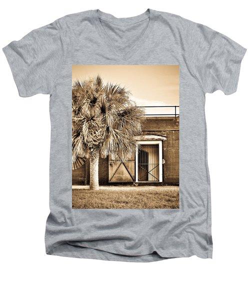 The Old Fort-sepia Men's V-Neck T-Shirt