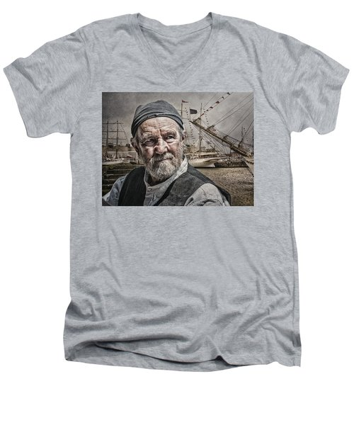 The Old Salt Men's V-Neck T-Shirt by Brian Tarr