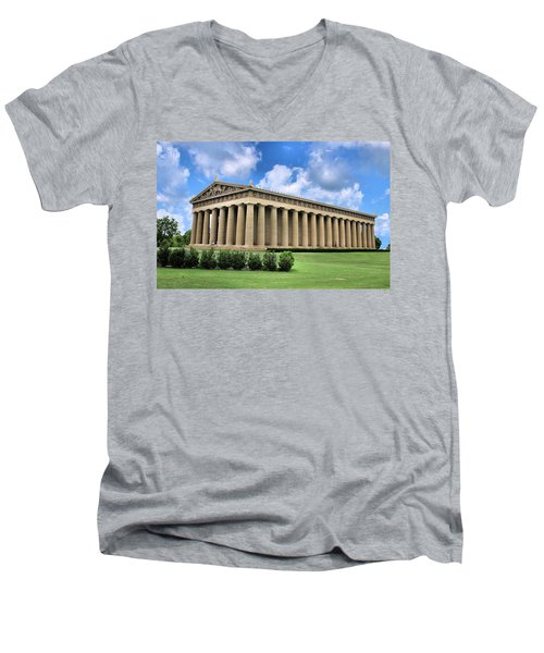 The Parthenon Men's V-Neck T-Shirt by Kristin Elmquist