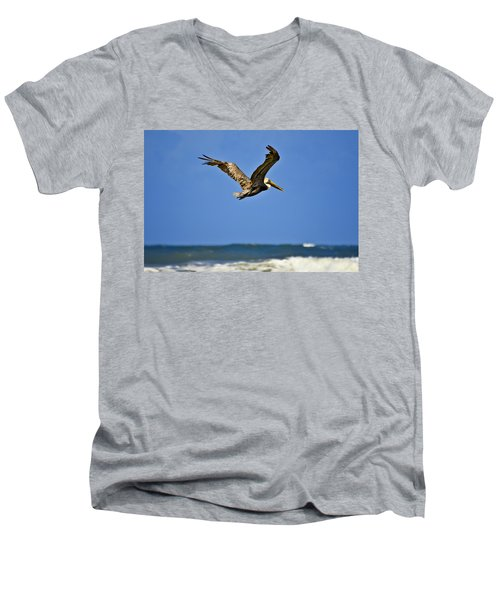 Men's V-Neck T-Shirt featuring the photograph The Pelican And The Sea by DigiArt Diaries by Vicky B Fuller
