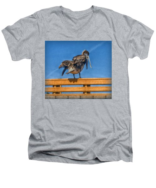 Men's V-Neck T-Shirt featuring the photograph The Pelican by Hanny Heim