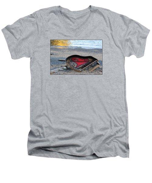 The Piano In New York Harbor Men's V-Neck T-Shirt