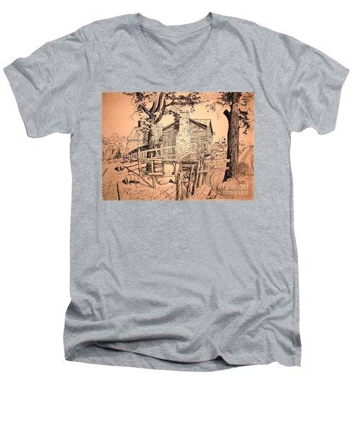 The Pig Sty Men's V-Neck T-Shirt by Kip DeVore