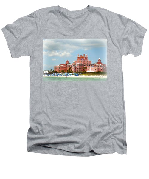The Pink Palace Men's V-Neck T-Shirt by Valerie Reeves