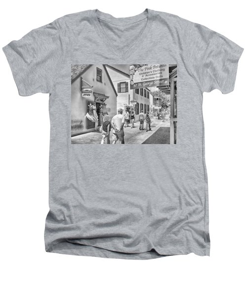Men's V-Neck T-Shirt featuring the photograph The Pink Petunia by Howard Salmon