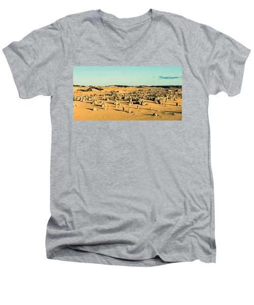 Men's V-Neck T-Shirt featuring the photograph The Pinnacles Australia by Yew Kwang