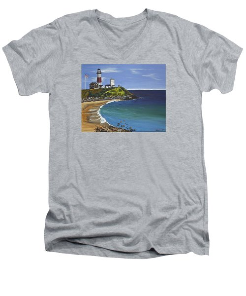 The Point Men's V-Neck T-Shirt by Donna Blossom