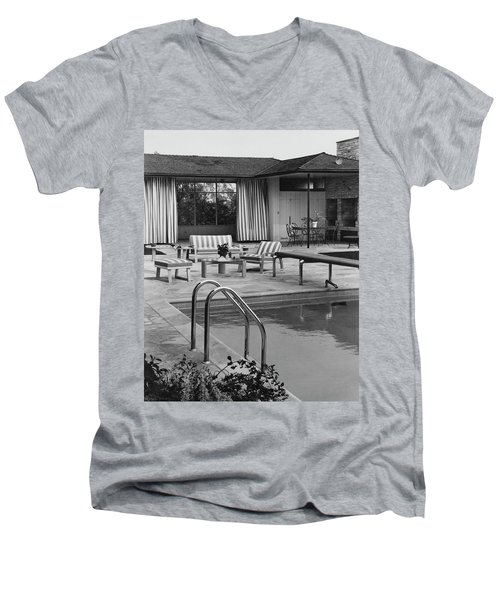 The Pool And Pavilion Of A House Men's V-Neck T-Shirt