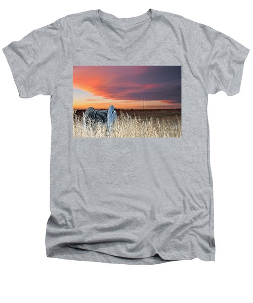 Men's V-Neck T-Shirt featuring the photograph The Prairie by Minnie Lippiatt