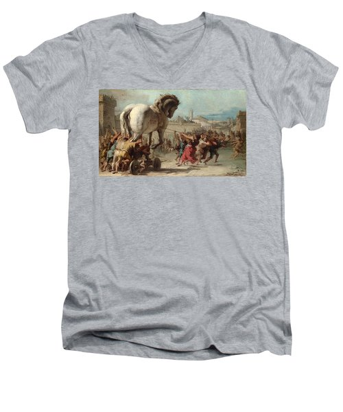 The Procession Of The Trojan Horse Into Troy Men's V-Neck T-Shirt