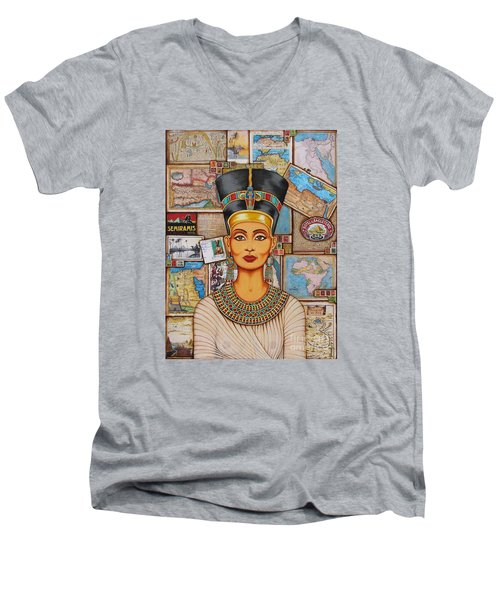 Men's V-Neck T-Shirt featuring the painting The Queen Of Amarna by Joseph Sonday