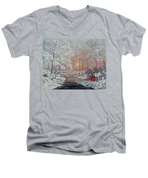 The Quest Begins Men's V-Neck T-Shirt by Anthony Lyon