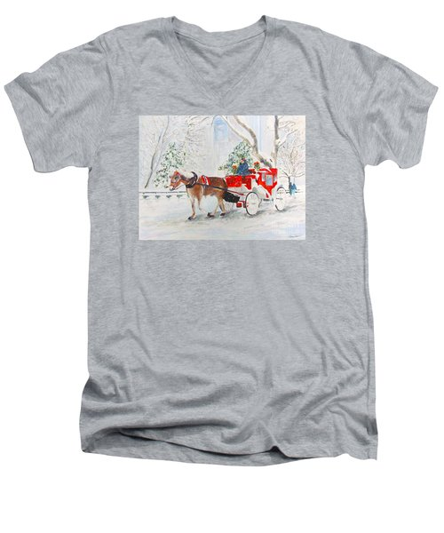 Men's V-Neck T-Shirt featuring the painting The Quiet Ride by Beth Saffer
