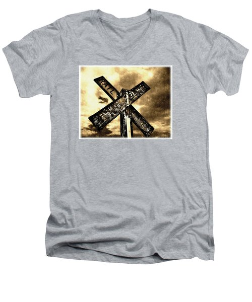Men's V-Neck T-Shirt featuring the photograph The Railroad Crossing by Glenn McCarthy Art and Photography
