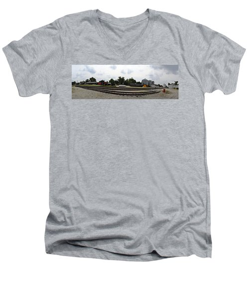 Men's V-Neck T-Shirt featuring the photograph The Railroad From The Series View Of An Old Railroad by Verana Stark