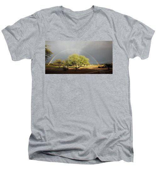 The Rain And The Rainbow Men's V-Neck T-Shirt by Lucinda Walter