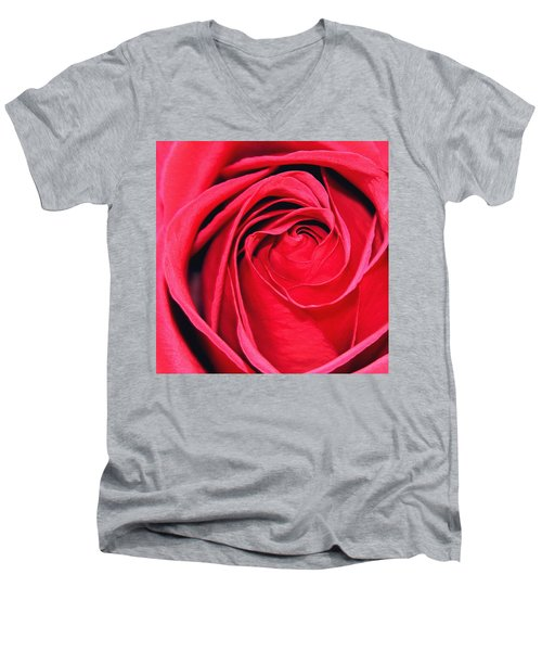 Men's V-Neck T-Shirt featuring the painting The Red Rose Blooming by Karon Melillo DeVega