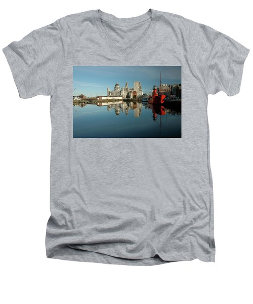 The Red Ship Men's V-Neck T-Shirt by Jonah  Anderson