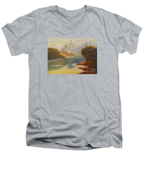 The River Flowing From A High Mountain Men's V-Neck T-Shirt