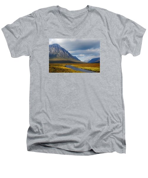 Men's V-Neck T-Shirt featuring the photograph The River Runs Through It by Wendy Wilton