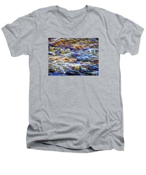 Men's V-Neck T-Shirt featuring the photograph The River by Susan  Dimitrakopoulos