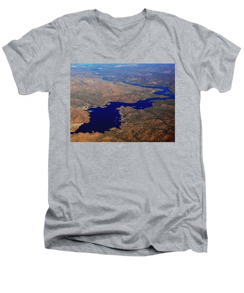 Men's V-Neck T-Shirt featuring the photograph The River Winds by Natalie Ortiz