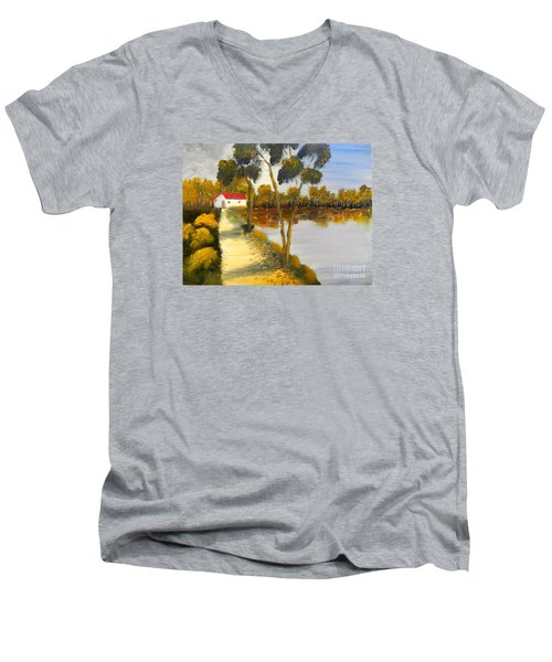 Men's V-Neck T-Shirt featuring the painting The Riverhouse by Pamela  Meredith