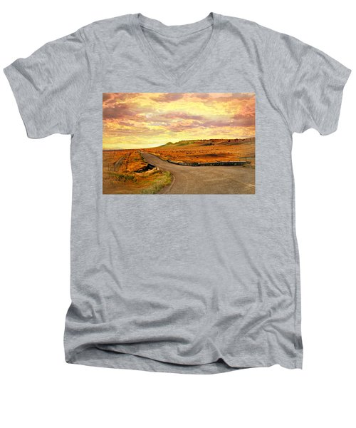 Men's V-Neck T-Shirt featuring the photograph The Road Less Trraveled Sunset by Marty Koch