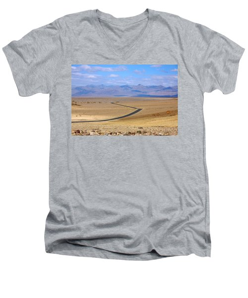 Men's V-Neck T-Shirt featuring the photograph The Road by Stuart Litoff