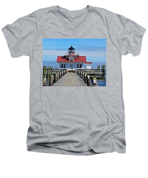 The Roanoke Marshes Lighthouse  Men's V-Neck T-Shirt