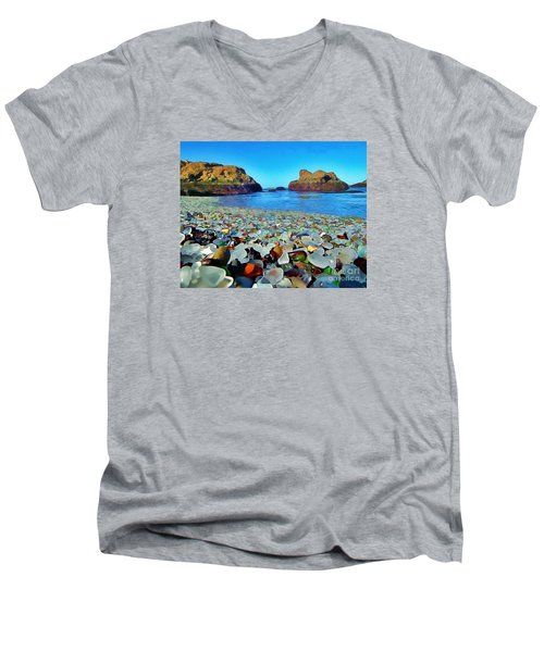 Glass Beach In Cali Men's V-Neck T-Shirt by Catherine Lott