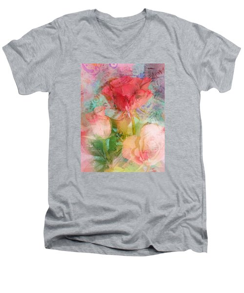 The Romance Of Roses Men's V-Neck T-Shirt by Carla Parris