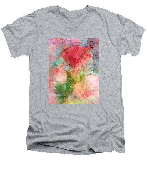 The Romance Of Roses Men's V-Neck T-Shirt