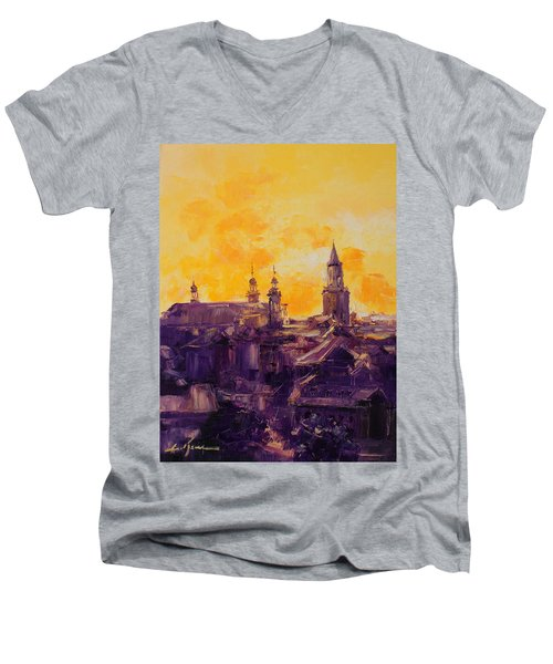 The Roofs Of Lublin Men's V-Neck T-Shirt