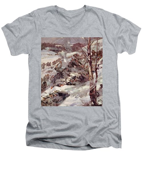The Russians Fighting Their Way Over The Carpathians Men's V-Neck T-Shirt by Cyrus Cuneo