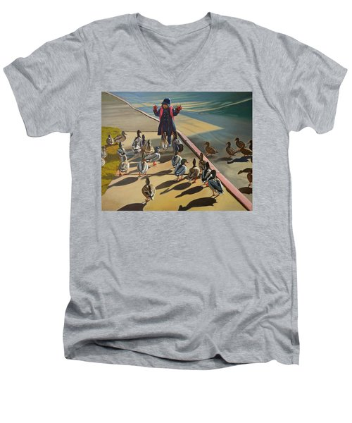 Men's V-Neck T-Shirt featuring the painting The Sidewalk Religion by Thu Nguyen