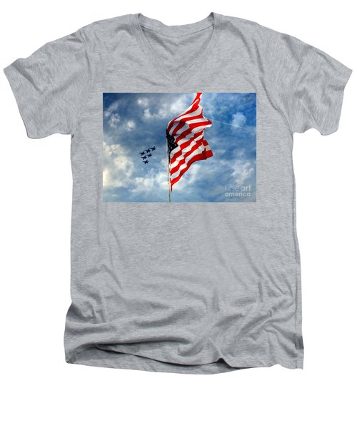 The Star Spangled Banner Yet Waves Men's V-Neck T-Shirt by Lydia Holly