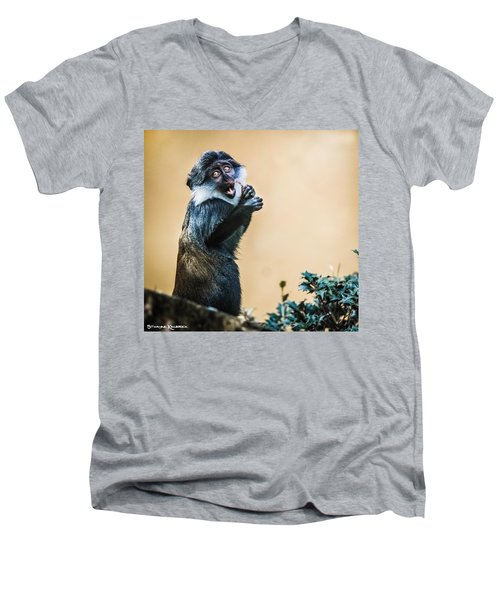 Men's V-Neck T-Shirt featuring the photograph The Starving Ape by Stwayne Keubrick