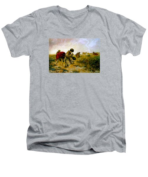 Men's V-Neck T-Shirt featuring the painting The Storm by Henryk Gorecki