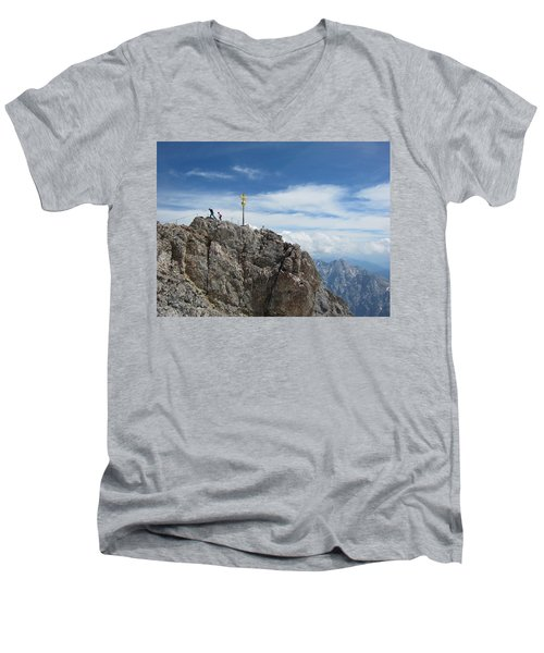 Men's V-Neck T-Shirt featuring the photograph The Summit by Pema Hou