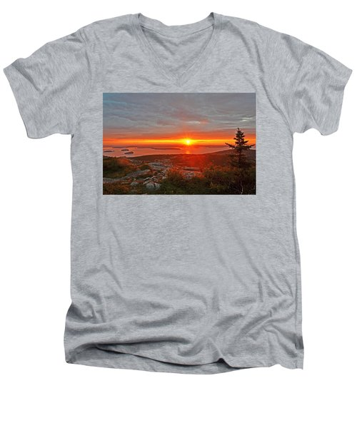 The Sunrise From Cadillac Mountain In Acadia National Park Men's V-Neck T-Shirt