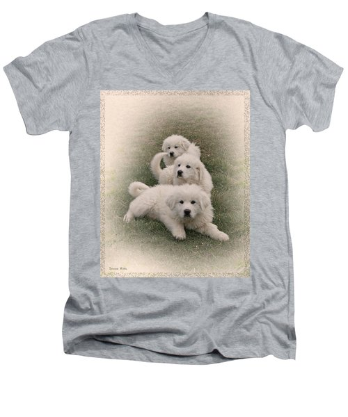 The Three Men's V-Neck T-Shirt by Bonnie Willis