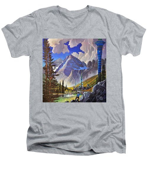 Men's V-Neck T-Shirt featuring the painting The Three Towers by Art James West