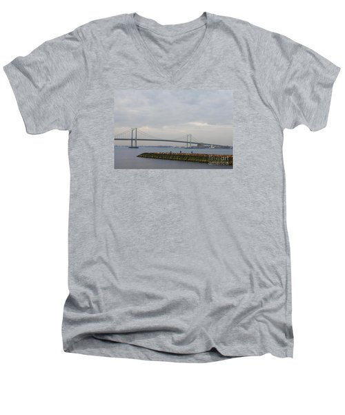 Men's V-Neck T-Shirt featuring the photograph The Throgs Neck Bridge by John Telfer