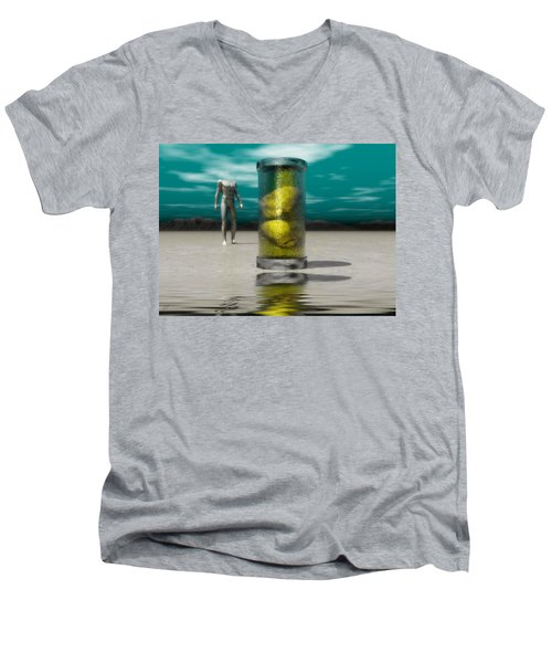 Men's V-Neck T-Shirt featuring the digital art The Time Capsule by John Alexander