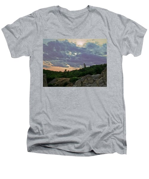 Men's V-Neck T-Shirt featuring the photograph The Tower by Eti Reid