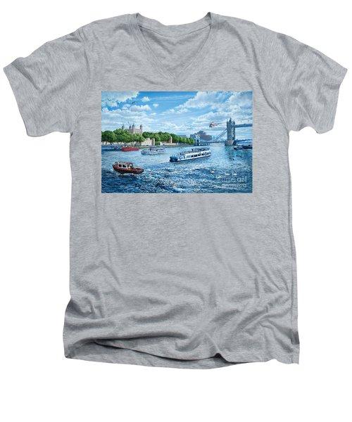 The Tower Of London Men's V-Neck T-Shirt by Steve Crisp